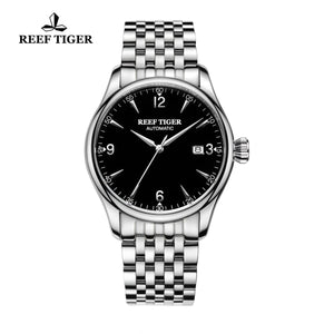 Reef Tiger Automatic Black Dial Full Stainless Steel Watches RGA823G