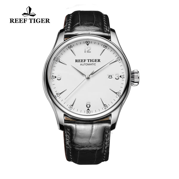 Reef Tiger Business Mens Steel White Dial Alligator Strap Watch with Date RGA823G