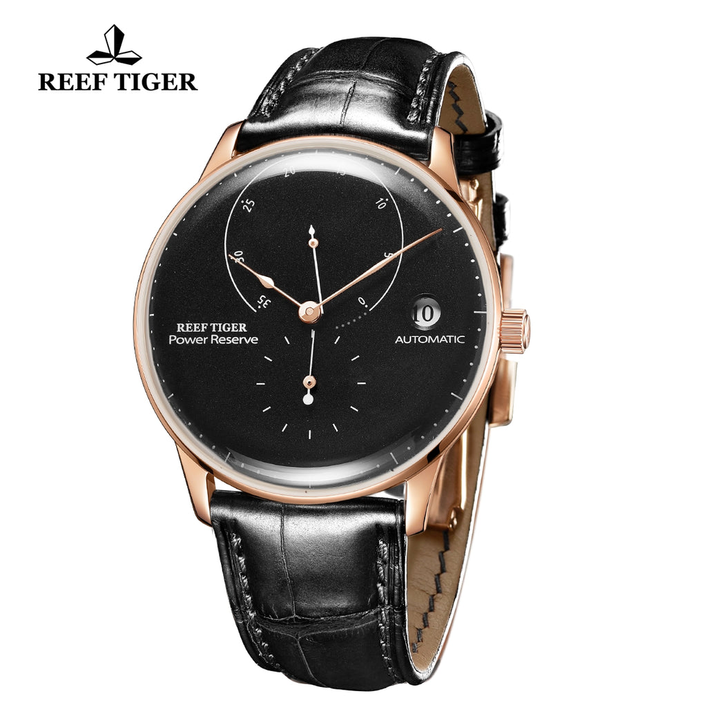 Reef Tiger Seattle Navy II Mens Business Watches Rose Gold Black Dial Leather Strap Automatic  RGA82B0-2-PBB