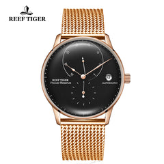 Reef Tiger Seattle Navy II Mens Business Watches Rose Gold Black Dial Automatic  RGA82B0-2-PBP