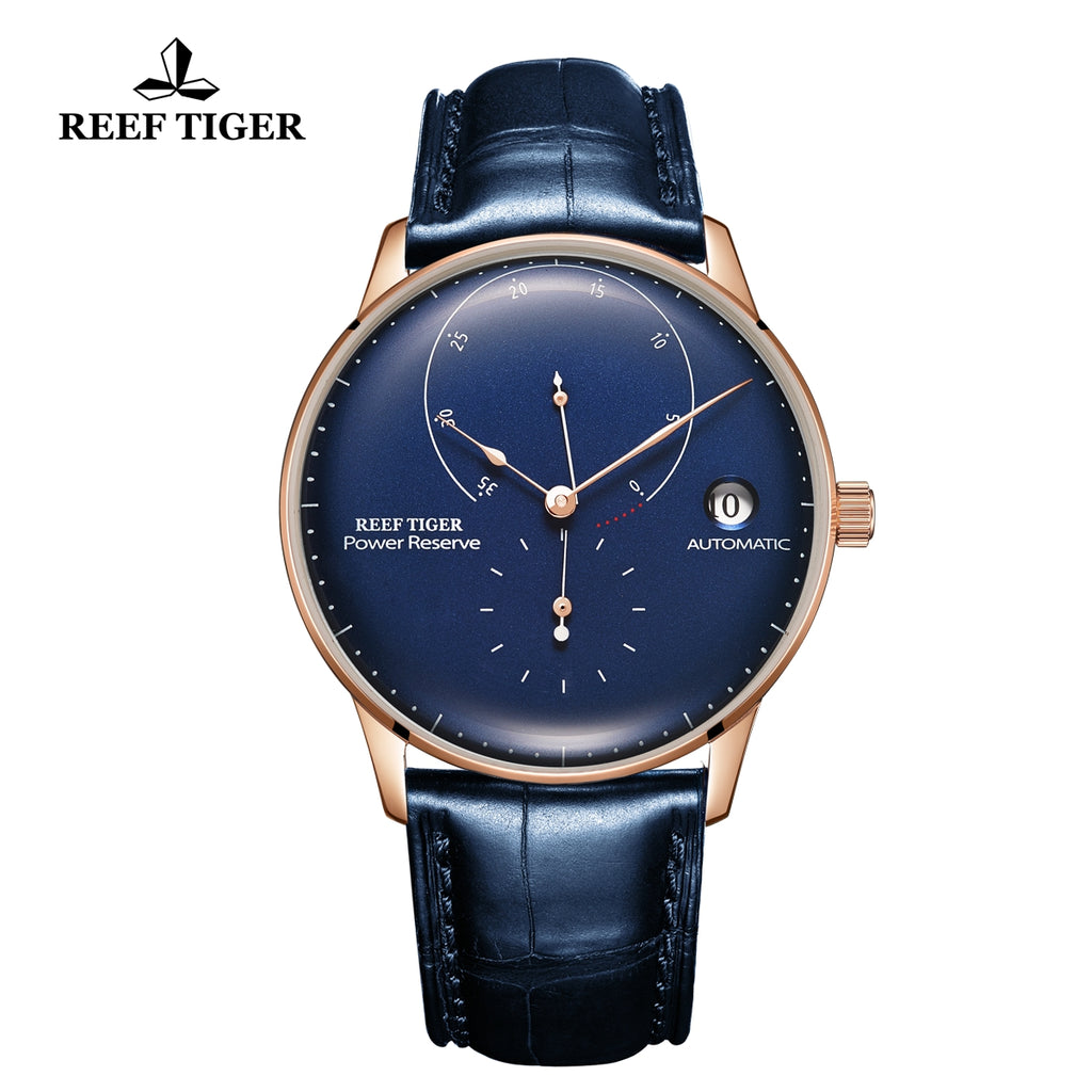 Reef Tiger Seattle Navy II Mens Business Watches Rose Gold Blue Dial Leather Strap Automatic  RGA82B0-2-PLL