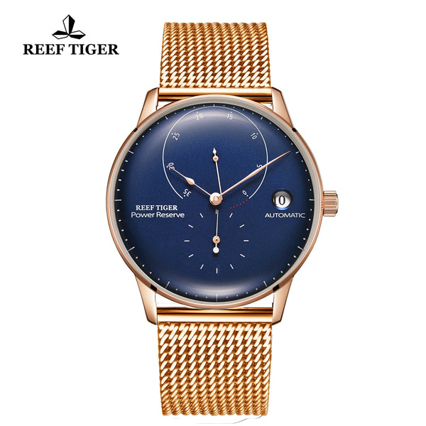 Reef Tiger Seattle Navy II Mens Business Watches Rose Gold Blue Dial Automatic  RGA82B0-2-PLP