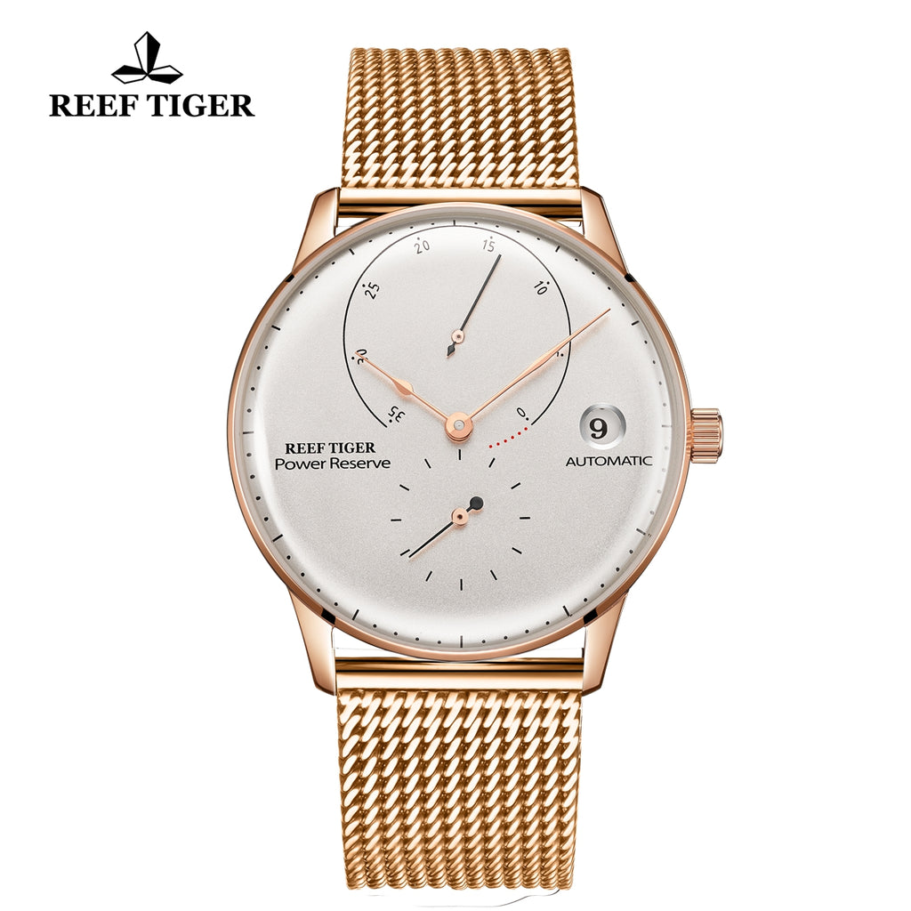 Reef Tiger Seattle Navy II Mens Business Watches Rose Gold White Dial Automatic  RGA82B0-2-PWP