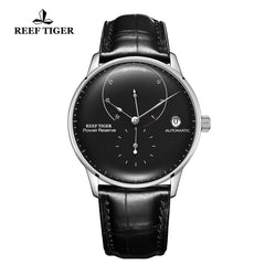 Reef Tiger Seattle Navy II Mens Business Watches Stainless Steel Black Dial Leather Strap Automatic  RGA82B0-2-YBB