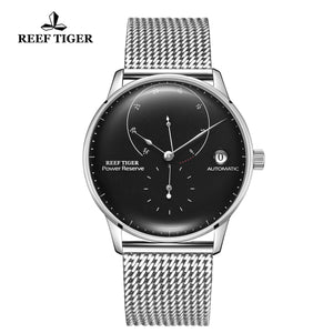 Reef Tiger Seattle Navy II Mens Business Watches Stainless Steel Black Dial  Automatic  RGA82B0-2-YBY