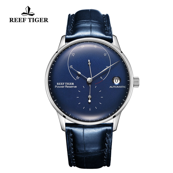 Reef Tiger Seattle Navy II Mens Business Watches Stainless Steel Blue Dial Leather Strap Automatic  RGA82B0-2-YLL