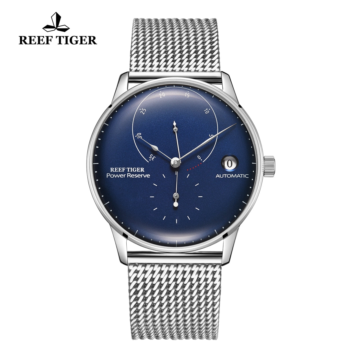 Reef Tiger Seattle Navy II Mens Business Watches Stainless Steel Blue Dial  Automatic  RGA82B0-2-YLY