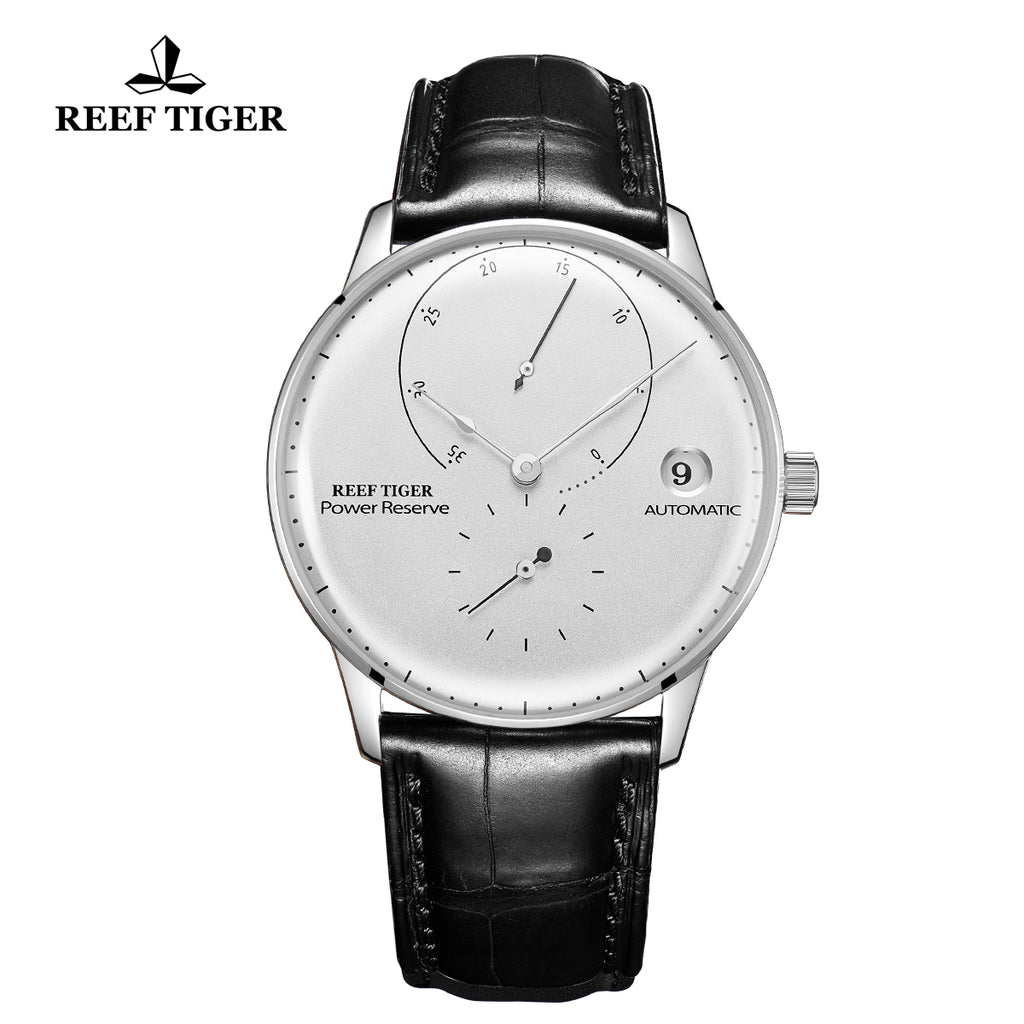 Reef Tiger Seattle Navy II Mens Business Watches Stainless Steel White Dial Leather Strap Automatic  RGA82B0-2-YWB