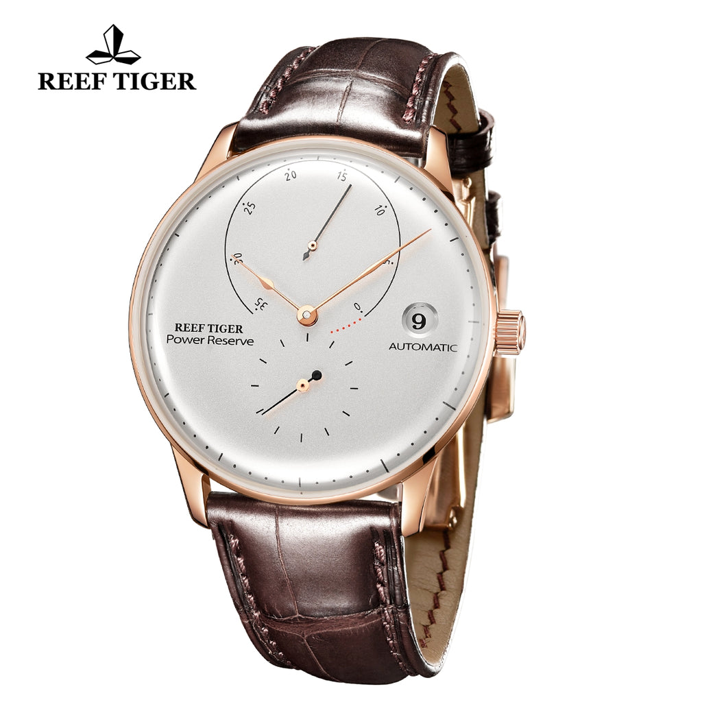 Reef Tiger Seattle Navy II Mens Business Watches Rose Gold White Dial Leather Strap Automatic  RGA82B0-2-YWS