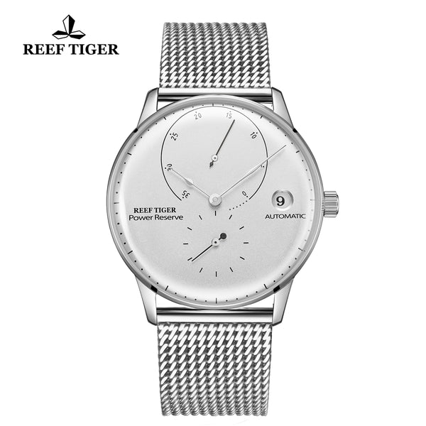 Reef Tiger Seattle Navy II Mens Business Watches Stainless Steel White Dial  Automatic  RGA82B0-2-YWY