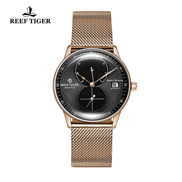 Reef Tiger Mens Dress Watches Rose Gold Steel Bracelet Automatic 48 Hours Power Reserve RGA82B0-PBP