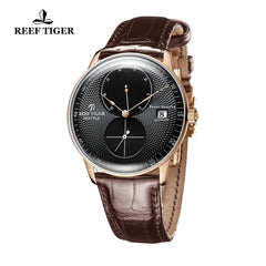 Reef Tiger Mens Dress Watches Rose Gold Leather Strap Automatic 48 Hours Power Reserve RGA82B0-PBB