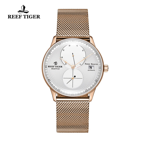 Reef Tiger Mens Dress Watches Rose Gold Steel Bracelet Automatic 48 Hours Power Reserve RGA82B0-PWP