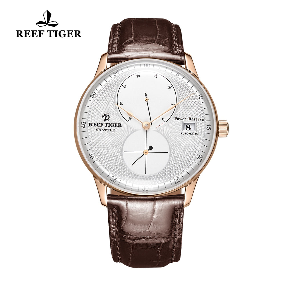 Reef Tiger Mens Dress Watches Rose Gold Leather Strap Automatic 48 Hours Power Reserve RGA82B0-PWB