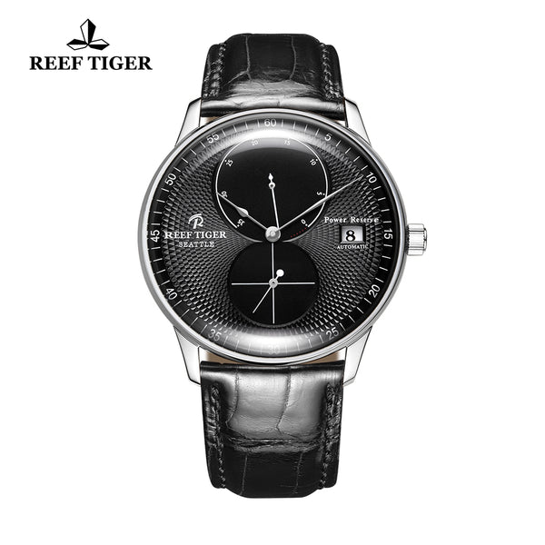Reef Tiger Mens Dress Watches Steel Leather Strap Automatic 48 Hours Power Reserve RGA82B0-YBB