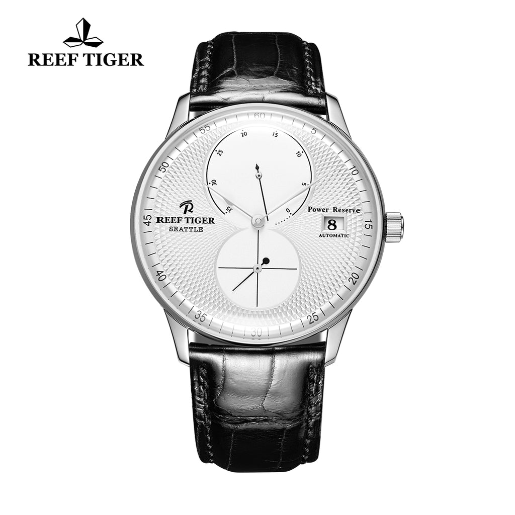 Reef Tiger Mens Dress Watches Steel Leather Strap Automatic 48 Hours Power Reserve RGA82B0-YWB