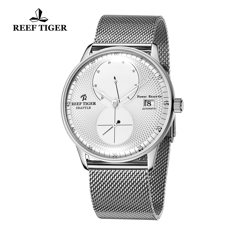 Reef Tiger Mens Dress Watches Steel Bracelet Automatic 48 Hours Power Reserve RGA82B0-YWY