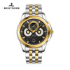 Reef Tiger Mens Casual Moonphase Date Yellow Gold Steel Black Dial Watch RGA830