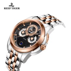 Reef Tiger Mens Casual Moonphase Date Rose Gold Steel Black Dial Watch RGA830