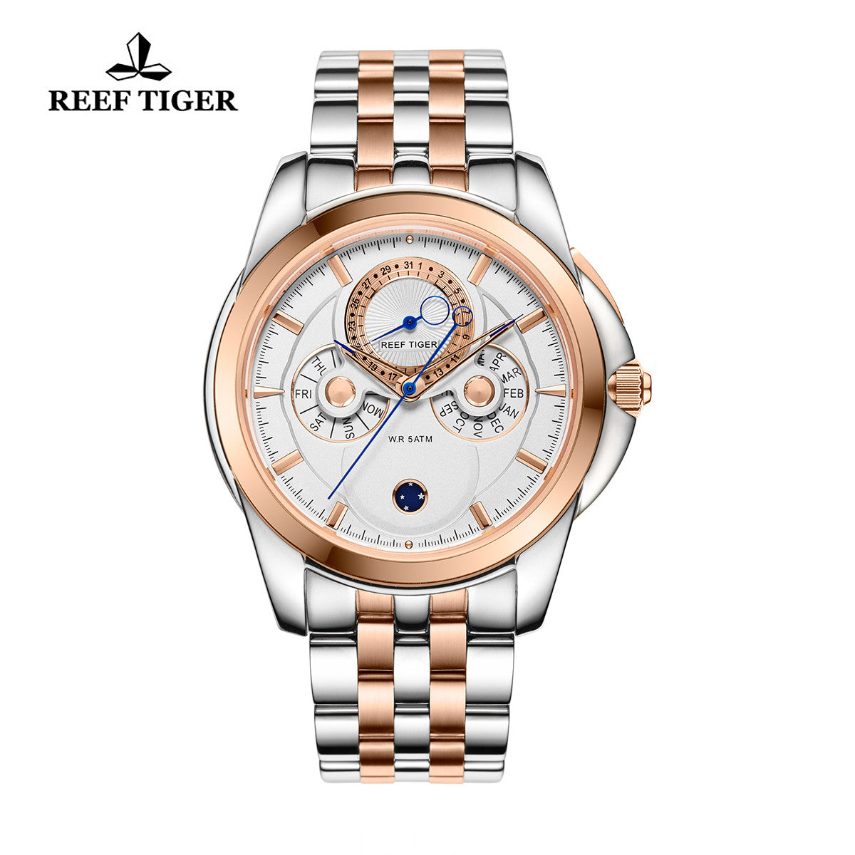 Reef Tiger Mens Casual Moonphase Date Rose Gold Steel White Dial Watch RGA830