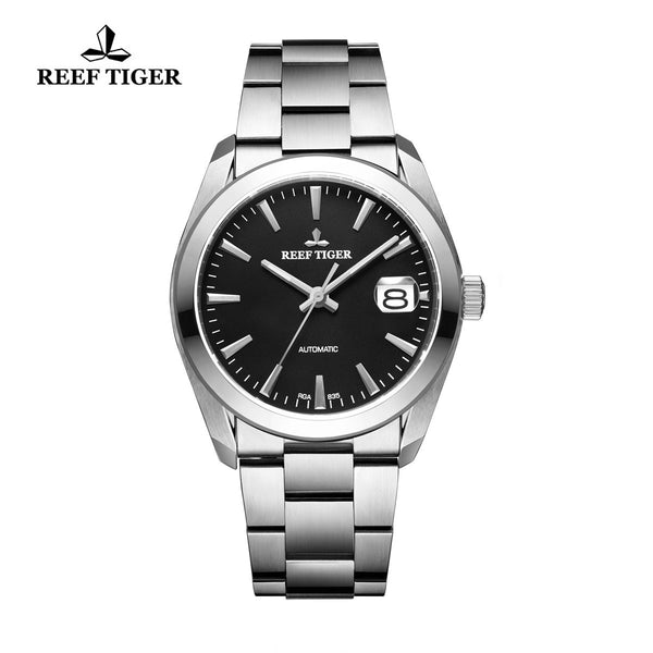 Reef Tiger Dress Steel Black Dial Automatic Men Watch with Big Date RGA835