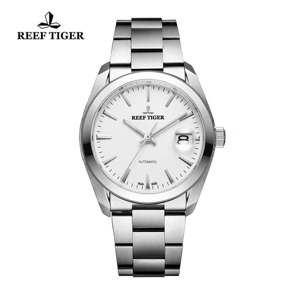 Reef Tiger Dress Steel White Dial Automatic Men Watch with Big Date RGA835
