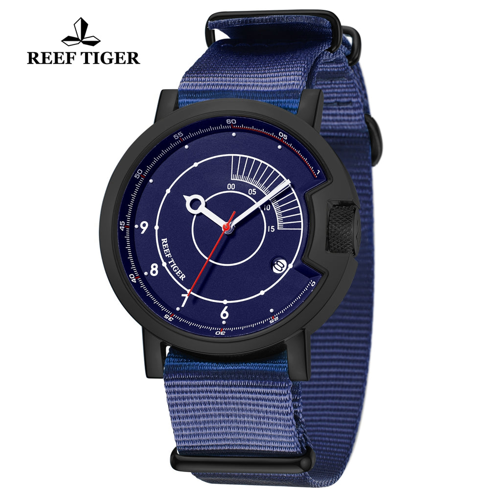 Reef Tiger 1980S Limited Edition Fashion Men PVD Blue Dial Automatic Watches RGA9035-BLL
