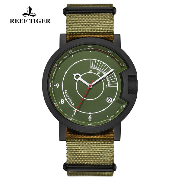 Reef Tiger 1980S Limited Edition Fashion Men PVD Green Dial Automatic Watches RGA9035-BNN