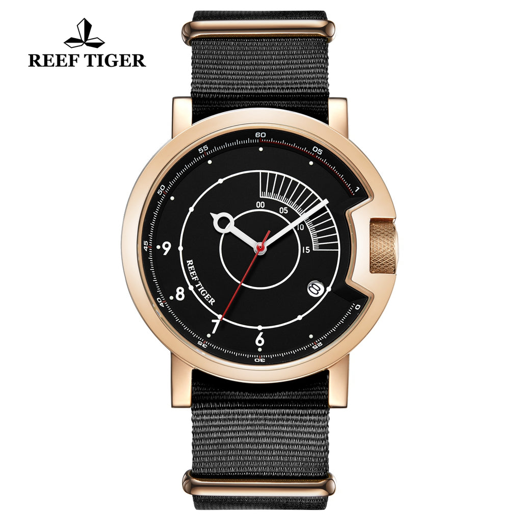 Reef Tiger 1980S Limited Edition Fashion Men Rose Gold Black Dial Automatic Watches RGA9035-PBB