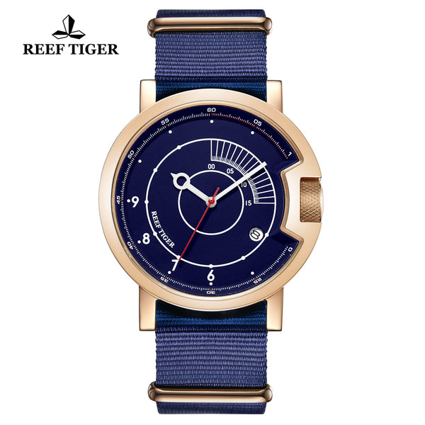 Reef Tiger 1980S Limited Edition Fashion Men Rose Gold Blue Dial Automatic Watches RGA9035-PLL