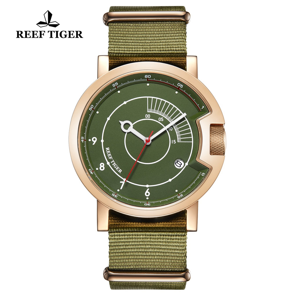 Reef Tiger 1980S Limited Edition Fashion Men Rose Gold Green Dial Automatic Watches RGA9035-PNN
