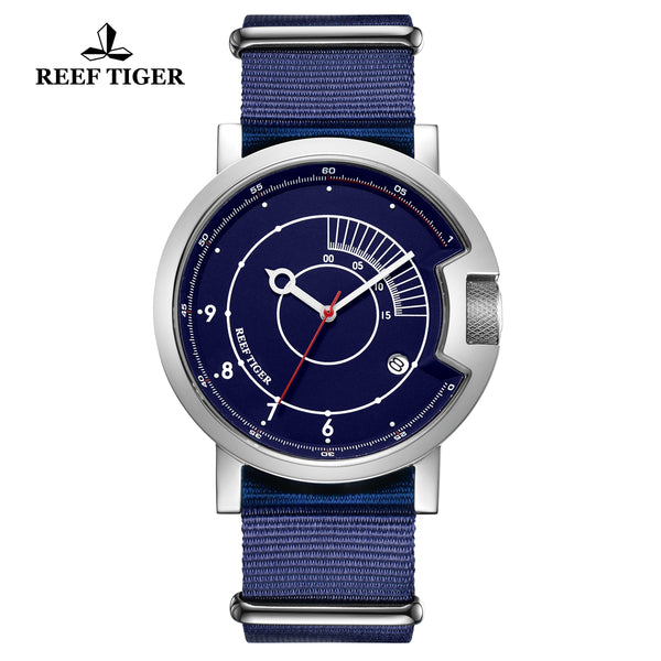 Reef Tiger 1980S Limited Edition Fashion Men Steel Blue Dial Automatic Watches RGA9035-YLL