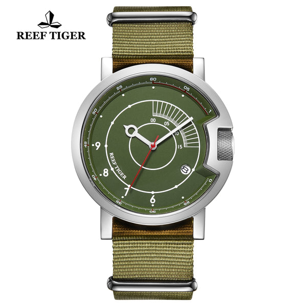 Reef Tiger 1980S Limited Edition Fashion Men Steel Green Dial Automatic Watches RGA9035-YNN