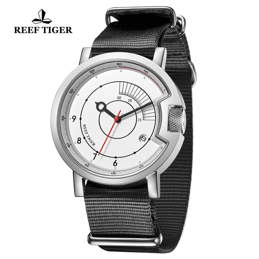 Reef Tiger 1980S Limited Edition Fashion Men Steel White Dial Automatic Watches RGA9035-YWB