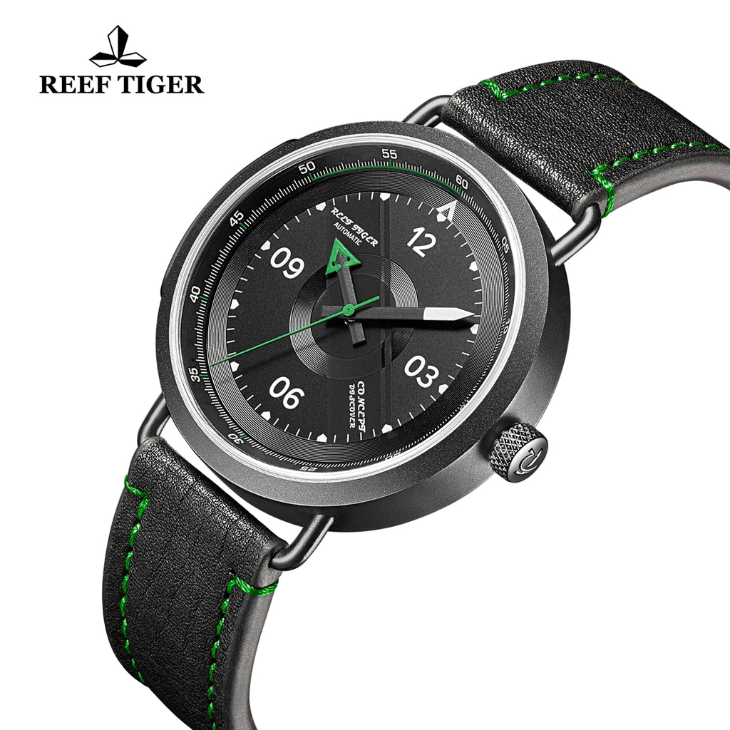 Reef Tiger Discover Limited Edition Fashion Men PVD Black Dial Green Pointer Automatic Watches RGA9055-BBG