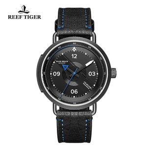 Reef Tiger Discover Limited Edition Fashion Men PVD Black Dial Blue Pointer Automatic Watches RGA9055-BBL