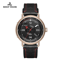 Reef Tiger Discover Limited Edition Fashion Men Rose Gold Black Dial Red Pointer Automatic Watches RGA9055-PBR