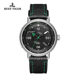Reef Tiger Discover Limited Edition Fashion Men Solid Steel Black Dial Green Pointer Automatic Watches RGA9055-YBG