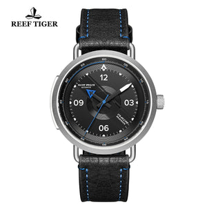 Reef Tiger Discover Limited Edition Fashion Men Solid Steel Black Dial Blue Pointer Automatic Watches RGA9055-YBL