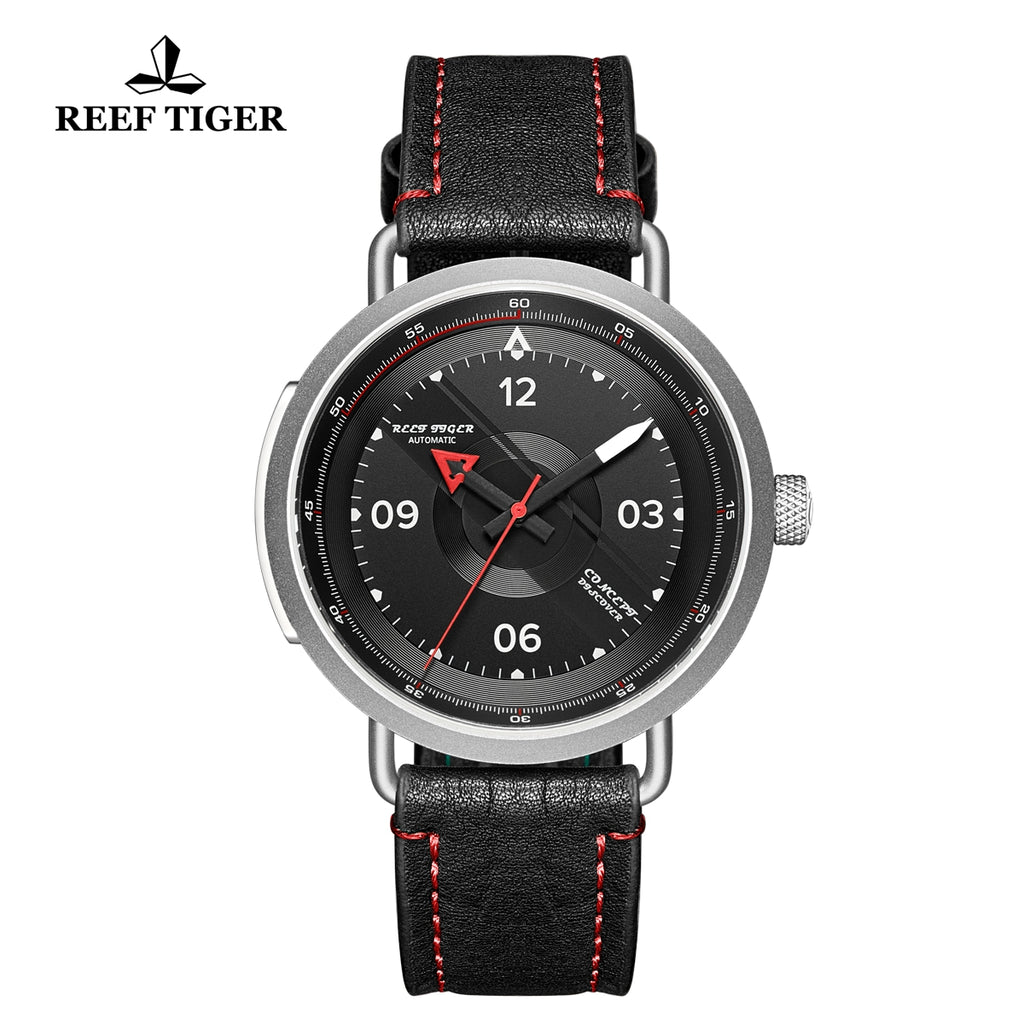 Reef Tiger Discover Limited Edition Fashion Men Solid Steel Black Dial Red Pointer Automatic Watches RGA9055-YBR