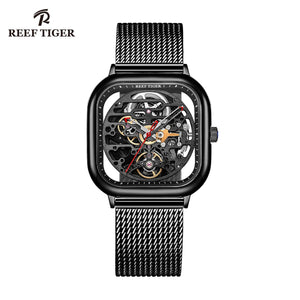 Reef Tiger Mens Designer Square Watch Automatic Skeleton Watch RGA9075