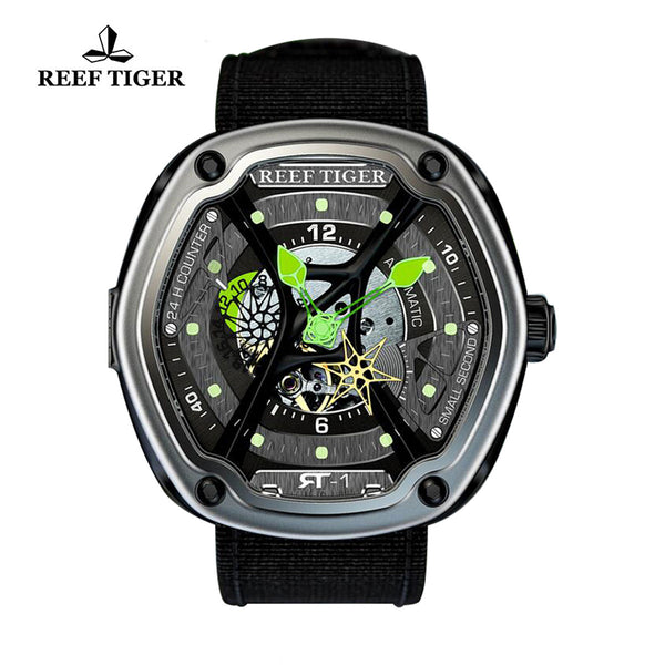Reef Tiger Skeleton Dial Green Night Luminescent Black Nylon Men's Watch RGA90S7