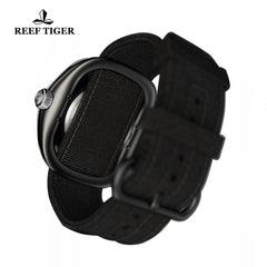 Reef Tiger Men's Skeleton Dial Green Night Luminescent Black Leather Watch RGA90S7