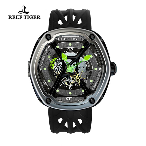 Reef Tiger Skeleton Dial Green Night Luminescent Black Rubber Men's Watch RGA90S7