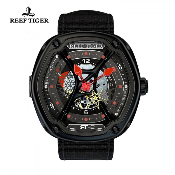 Reef Tiger Skeleton Dial Red Night Luminescent Black Nylon Men's Watch RGA90S7