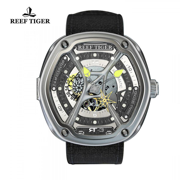 Reef Tiger Yellow Night Luminescent Skeleton Dial Black Nylon Men's Watch RGA90S7