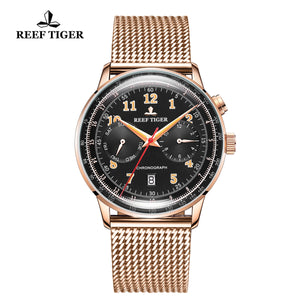 Reef Tiger Limited Edition Respect Luxury Men Rose Gold Black Dial Automatic Watches RGA9122-PBP