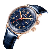 Reef Tiger Limited Edition Respect Ventage Men Rose Gold Blue Dial Leather Automatic Watches RGA9122-PLL