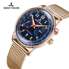 Reef Tiger Limited Edition Respect Luxury Men Rose Gold Blue Dial Automatic Watches RGA9122-PLP