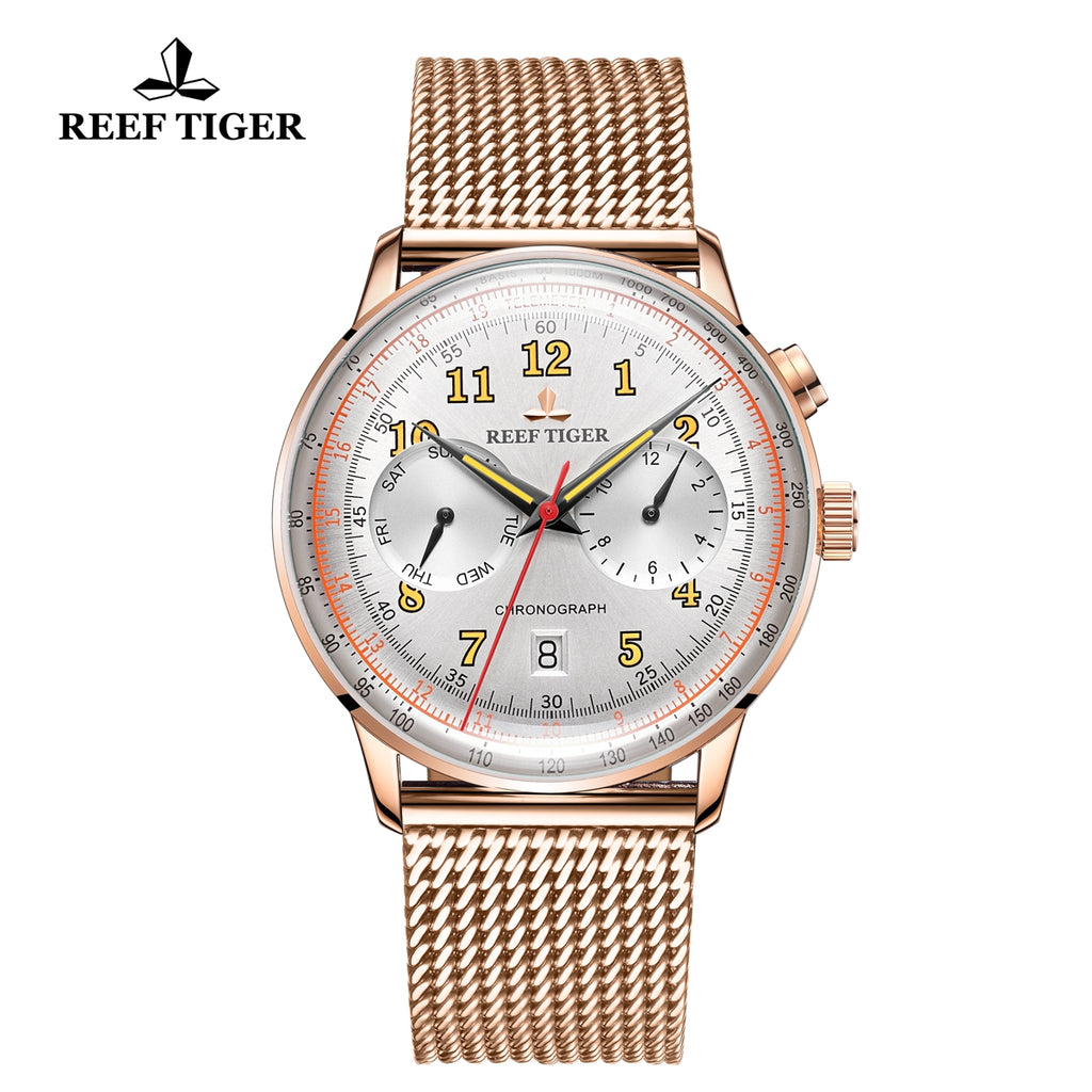 Reef Tiger Limited Edition Respect Luxury Men Rose Gold Black Dial Automatic Watches RGA9122-PWP